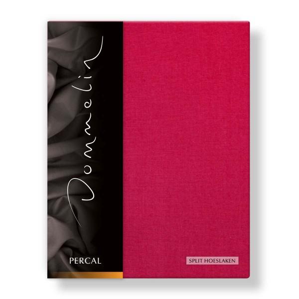 Dommelin Split Hoeslaken Deluxe Percal Cherry 180 x 200 cm | split 90 cm