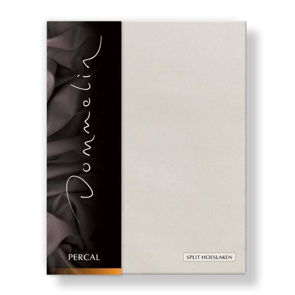 Dommelin Split Hoeslaken Deluxe Percal Beige 180 x 200 cm | split 90 cm