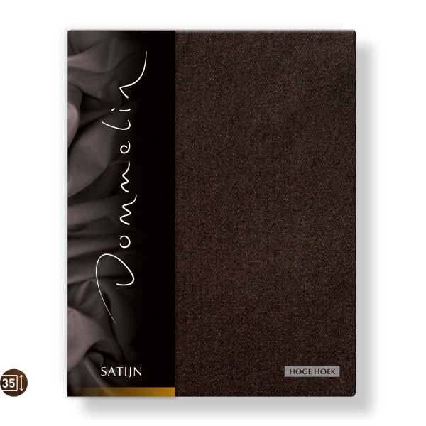 Dommelin Hoeslaken Hoge Hoek Deluxe Satijn Choco 80 x 200 cm