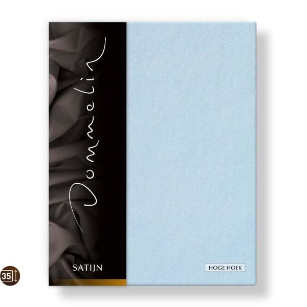 Dommelin Hoeslaken Hoge Hoek Deluxe Satijn Lichtblauw 100 x 210 cm