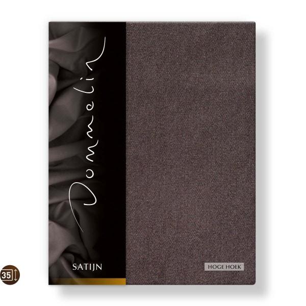 Dommelin Hoeslaken Hoge Hoek Deluxe Satijn Bruin 80 x 200 cm