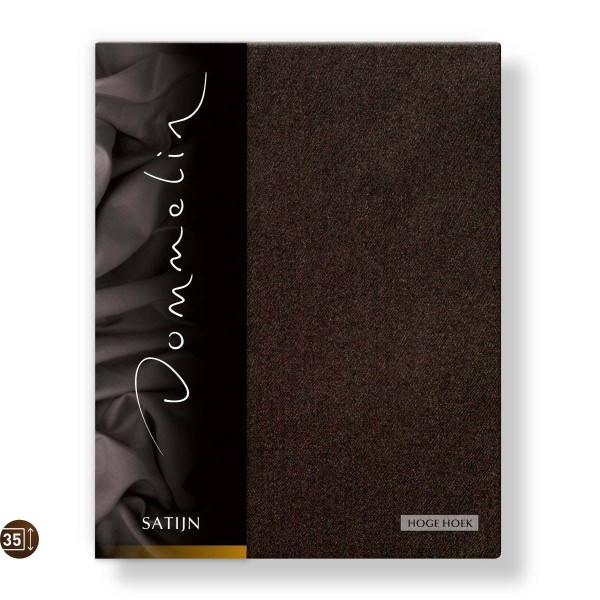 Dommelin Hoeslaken Hoge Hoek Deluxe Satijn Choco 90 x 220 cm