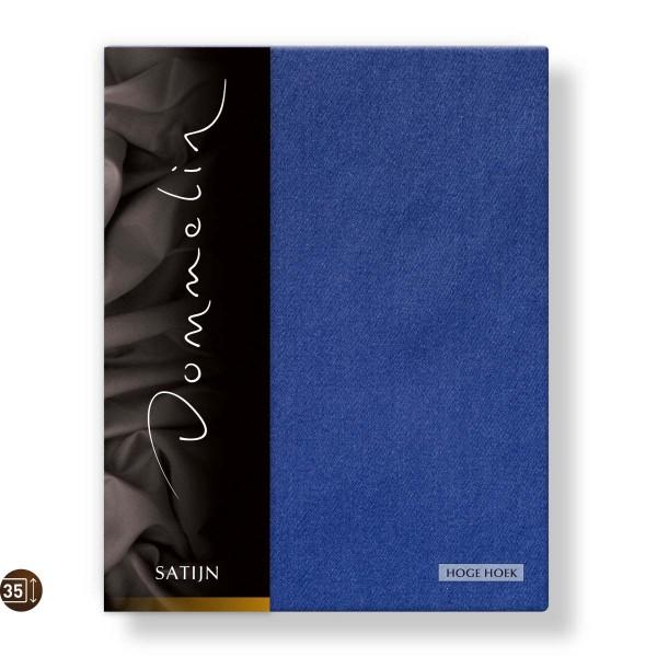 Dommelin Hoeslaken Hoge Hoek Deluxe Satijn Jeansblauw 120 x 200 cm