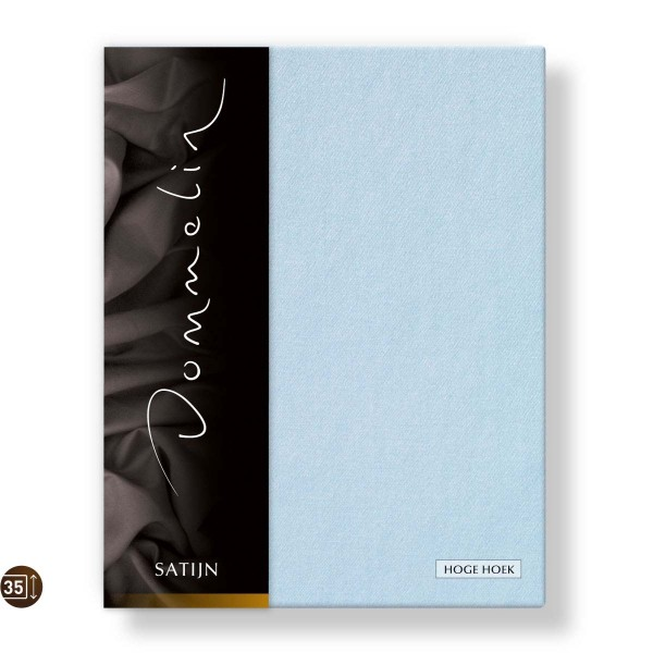Dommelin Hoeslaken Hoge Hoek Deluxe Satijn Lichtblauw 90 x 200 cm
