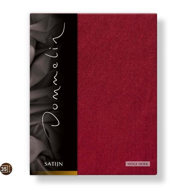 Dommelin Hoeslaken Hoge Hoek Deluxe Satijn Rosso 180 x 200 cm