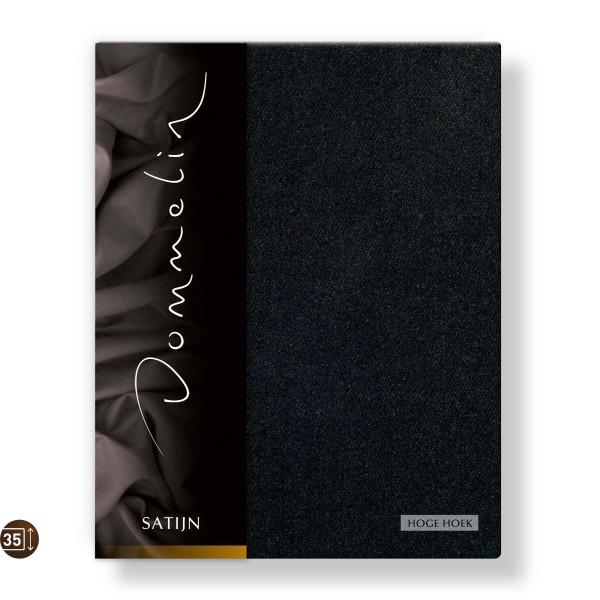 Dommelin Hoeslaken Hoge Hoek Deluxe Satijn Zwart 90 x 220 cm