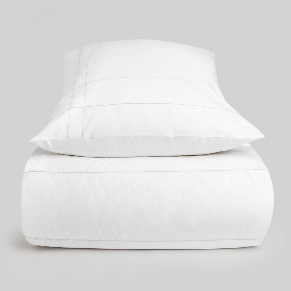 Mrs.Me Dekbedovertrek Matrix Wit Percale 500TC eenpersoons