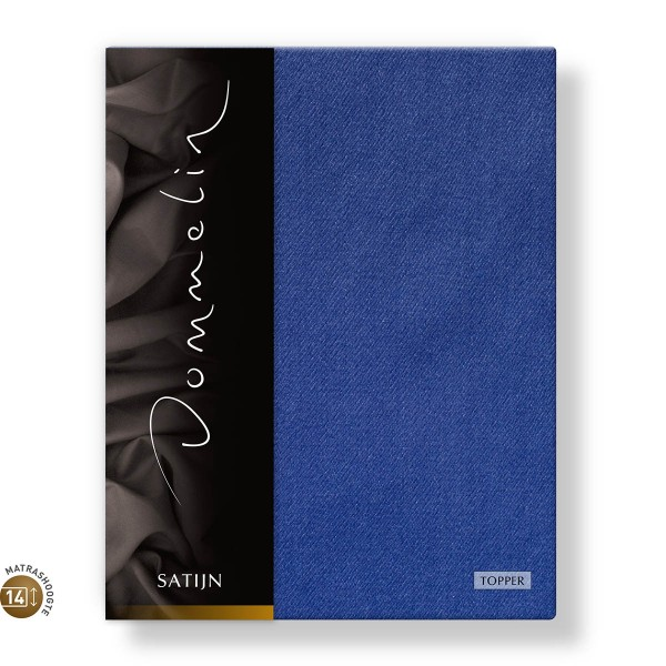 Dommelin Topper Hoeslaken 10-14 cm Satijn 300TC Jeansblauw 100 x 200 cm