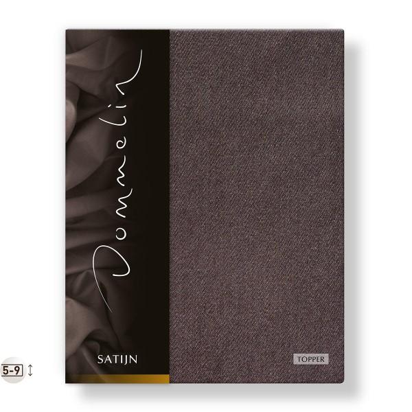 Dommelin Topper Hoeslaken Deluxe Satijn Bruin 200 x 220 cm