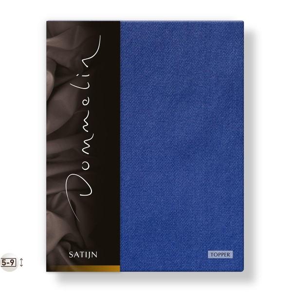 Dommelin Topper Hoeslaken Deluxe Satijn Jeansblauw 90 x 200 cm
