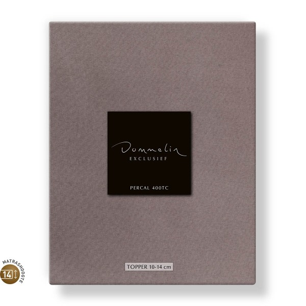 Dommelin Topper Hoeslaken 10-14 cm Percal 400TC Taupe