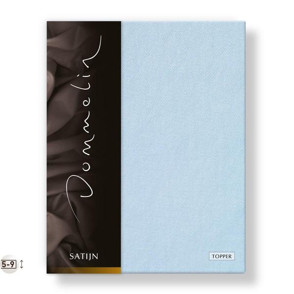 Dommelin Topper Hoeslaken Deluxe Satijn Lichtblauw 90 x 210 cm