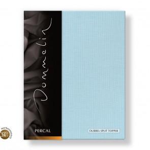 Dommelin Dubbel Split Topper Hoeslaken 10-14 cm Percal 200TC Pastelblauw