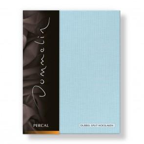 Dommelin Dubbel Split Hoeslaken Deluxe Percal Pastelblauw