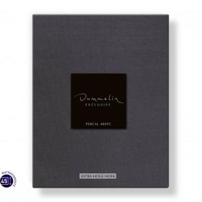 Dommelin Hoeslaken Extra Hoge Hoek Percal 400TC Donkergrijs 105 x 210 cm
