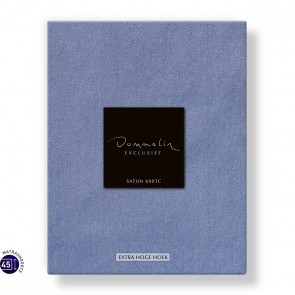 Dommelin Hoeslaken Extra Hoge Hoek Satijn 600TC Staalblauw 105 x 210 cm