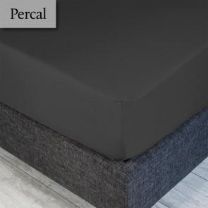 Dommelin Hoeslaken Percal 200TC Leisteengrijs 180 x 210 cm