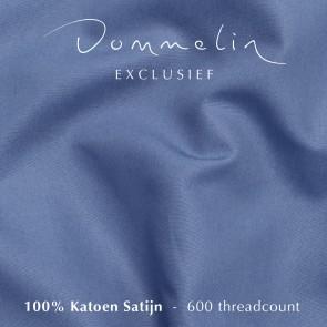 Dommelin Topper Hoeslaken 5-9 cm Satijn 600TC Staalblauw 180 x 220 cm
