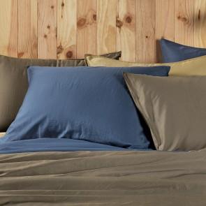 Dommelin Kussensloop Lavado Stonewashed Satijn Nachtblauw 60 x 70 cm