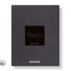 Dommelin Topper Hoeslaken 5-9 cm Percal 400TC Donkergrijs 105 x 210 cm