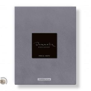 Dommelin Topper Hoeslaken 5-9 cm Percal 400TC Middengrijs 105 x 210 cm