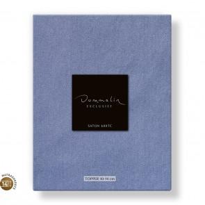 Dommelin Topper Hoeslaken 10-14 cm Satijn 600TC Staalblauw 105 x 210 cm