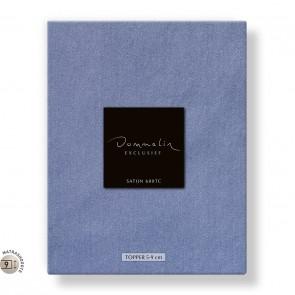 Dommelin Topper Hoeslaken 5-9 cm Satijn 600TC Staalblauw 160 x 200 cm