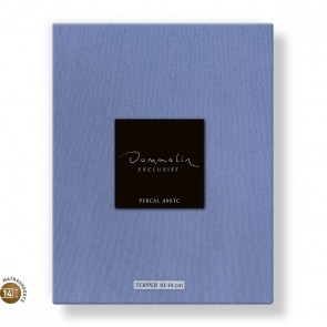 Dommelin Topper Hoeslaken 10-14 cm Percal 400TC Staalblauw 100 x 200 cm