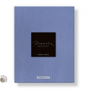 Dommelin Topper Hoeslaken 5-9 cm Percal 400TC Staalblauw 105 x 210 cm
