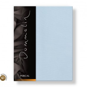 Dommelin Topper Hoeslaken 10-14 cm Percal 200TC Lichtblauw 100 x 200 cm