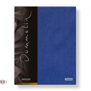 Dommelin Topper Hoeslaken Deluxe Satijn Jeansblauw 100 x 200 cm
