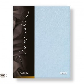 Dommelin Topper Hoeslaken Deluxe Satijn Lichtblauw 100 x 200 cm