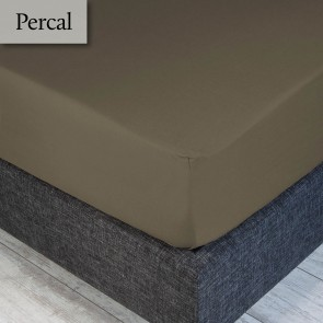 Dommelin Hoeslaken Percal 200TC Taupe 100 x 200 cm