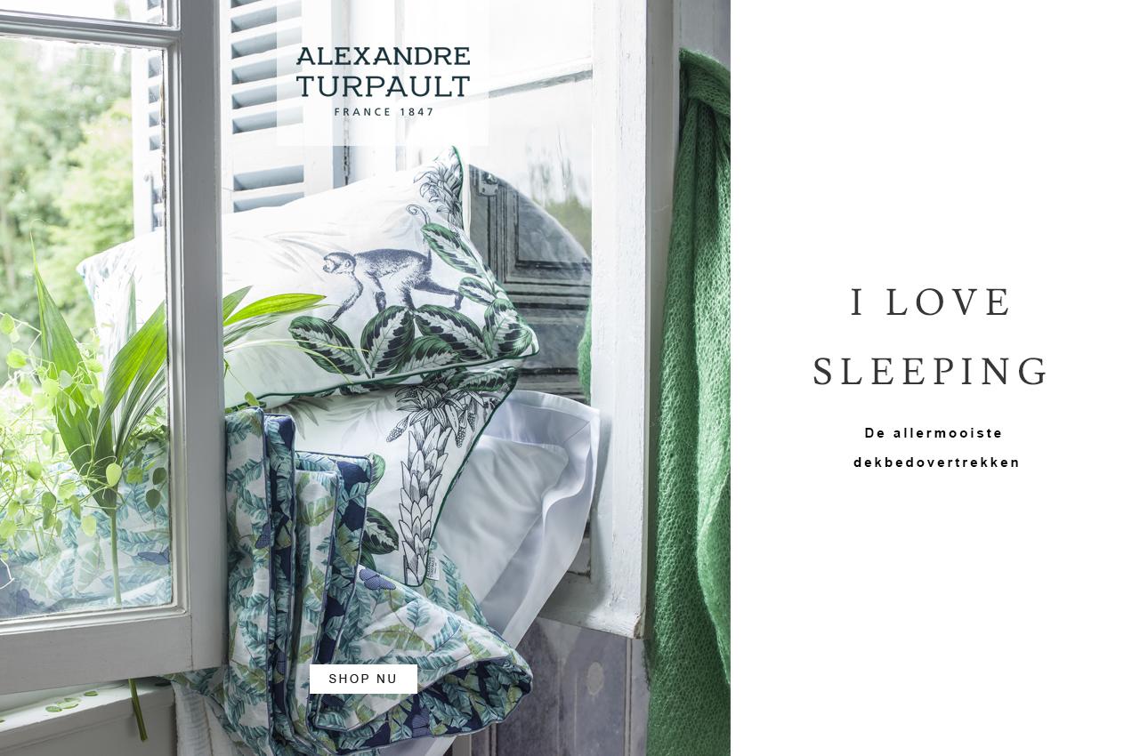 Sierkussen Buffon Green, Plaid Bougainville, Dekbedovertrek Gabrielle | Alexandre Turpault